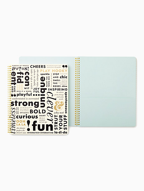 Kate Spade What Do You Say Large Spiral Notebook, Black