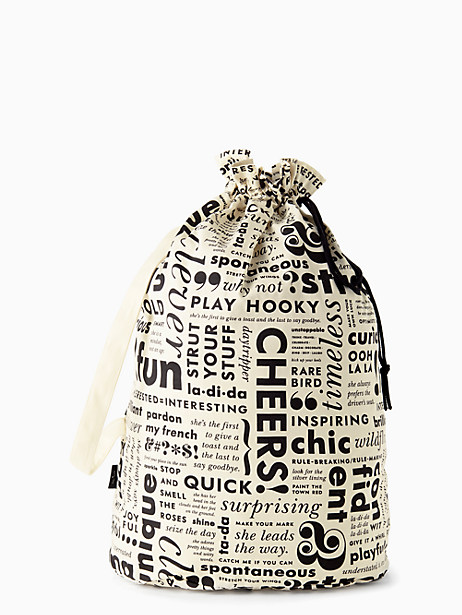 Kate Spade What Do You Say Laundry Bag, Black