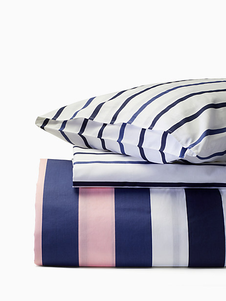 Kate Spade Chesapeake Stripe Full/queen Comforter Set, Navy/Wht/Pink - Size FULL/QUEEN