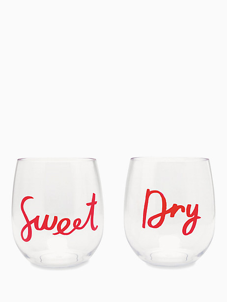 sweet & dry acrylic stemless wine glass set by kate spade new york