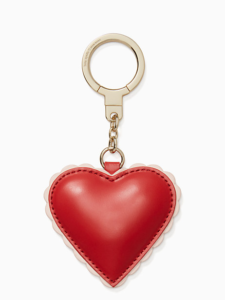 Kate Spade Scalloped Leather Heart Keychain, Red