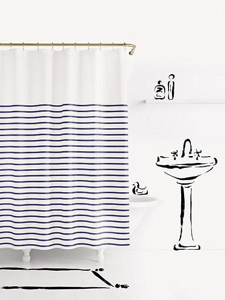 Kate Spade Charlotte Street Shower Curtain, Navy/White
