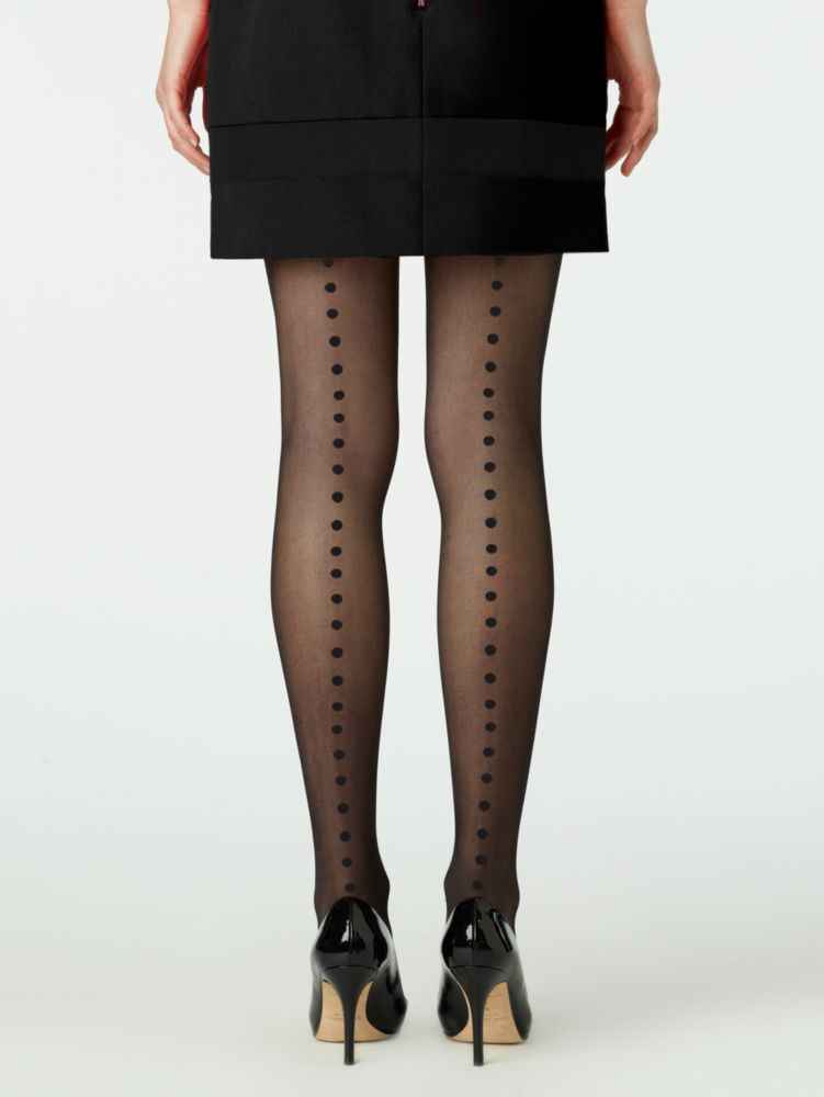 enormous swiss dot black seam tights