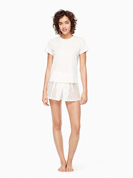 Kate Spade Skort Pj Set, Fresh White - Size L