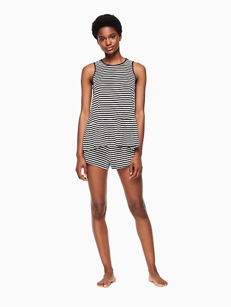 Kate Spade Short Pj Set, Black And White Stripe - Size L