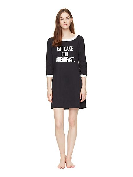 Kate Spade Eat Cake Sleep Shirt, Black - Size S
