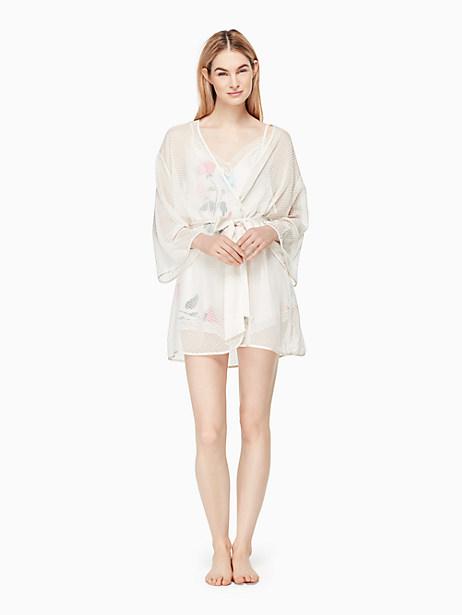 Kate Spade Dot Jacquard Robe, Off-White - Size L/XL