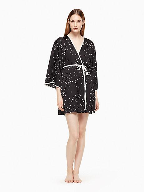 Kate Spade Robe, Black Confetti Dot - Size L/XL
