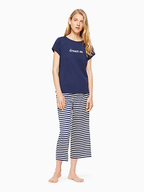 Kate Spade Cropped Pj Set, New Navy With Navy Kate Stripe - Size L