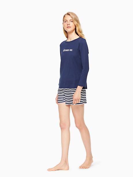 Kate Spade Short Pj Set, New Navy With Navy Kate Stripe - Size L