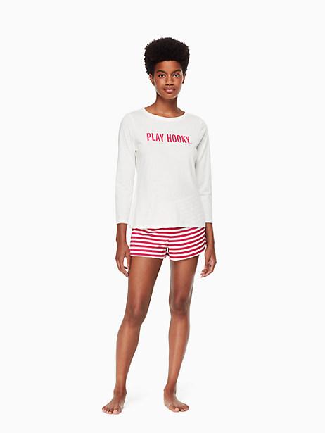 Kate Spade Short Pj Set, Off White With Raspberry Kate Stripe - Size L