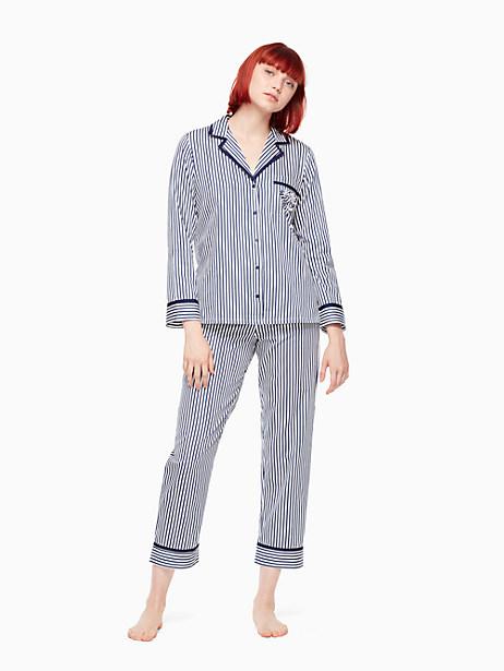 Kate Spade Sateen Pj Set, Yarn Dye Pin Stripe - Size L