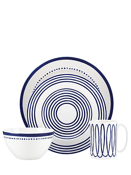 Kate Spade Charlotte Street Four-piece Place Setting, Navy