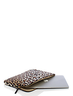 nylon leopard print laptop sleeve with strap by kate spade new york