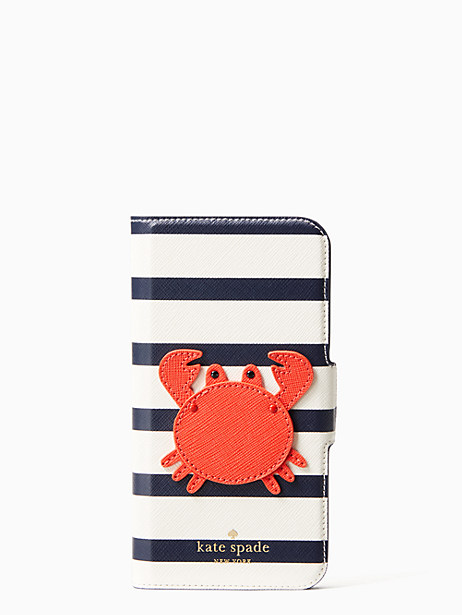 crab applique folio iphone cases x case by kate spade new york