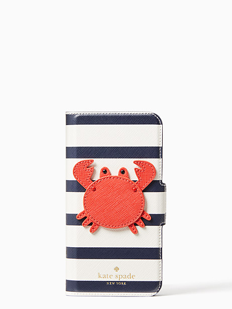 crab applique folio iphone cases 7 & 8 case by kate spade new york