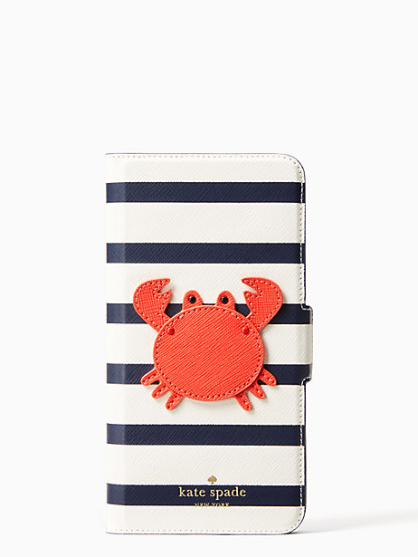 crab applique folio iphone cases 7 & 8 plus case by kate spade new york