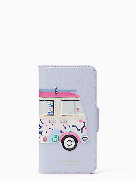 Kate Spade Surf Van Applique Folio Iphone X Case, Blue