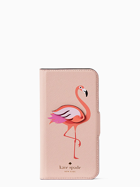 flamingo applique iPhone x folio case by kate spade new york