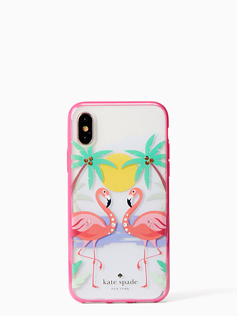 Kate Spade jeweled flamingos iPhone X case, Clear