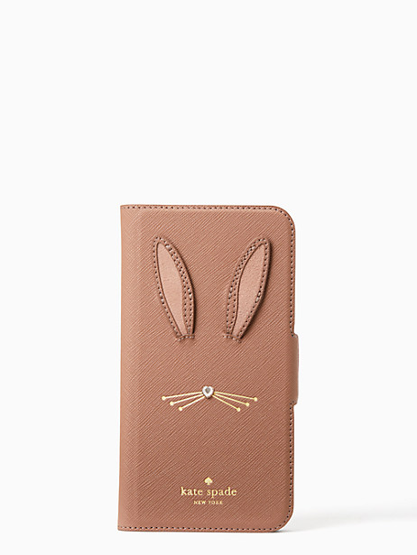 rabbit applique iphone x folio case by kate spade new york
