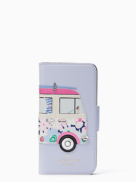 Kate Spade Surf Van Applique Folio Iphone 7 & 8 Case, Blue