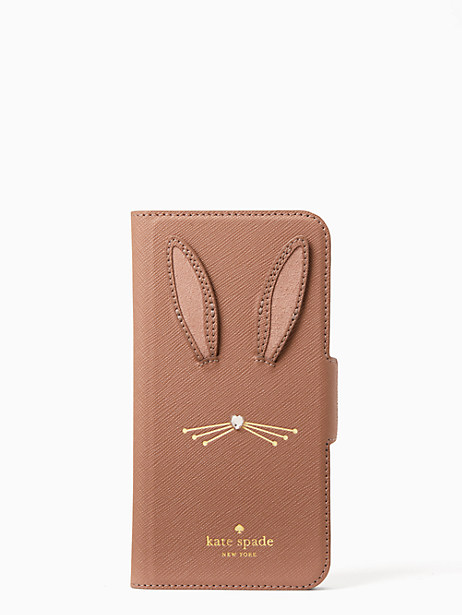 rabbit applique iphone 7 & 8 folio case by kate spade new york