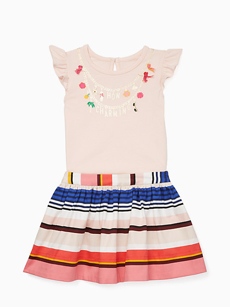 Kate Spade Babies' How Charming Skirt Set, Pink Sand/Berber Stripe - Size 12M