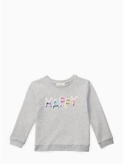girls'  happy sweatshirt by kate spade new york