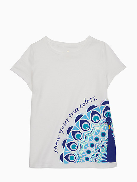 Kate Spade Girls' True Colors Peacock Tee, Fresh White - Size 10