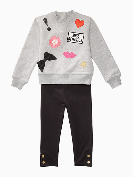 Kate Spade Babies' Patched Sweatshirt Set, Grey Heather - Size 12M
