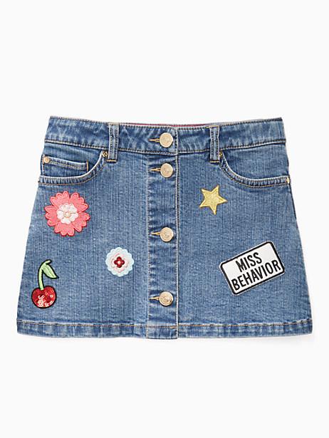 Kate Spade Girls' Patched Denim Skirt, Denim - Size 10