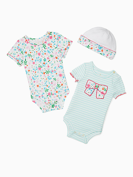 Kate Spade Layette Bodysuits And Cap Set, Assorted - Size 3M