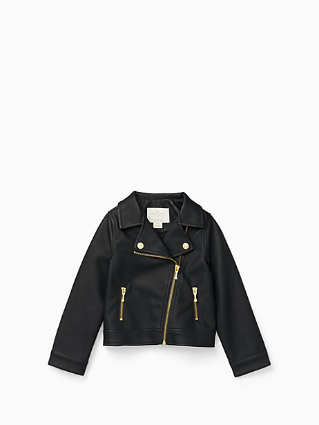 girls' faux leather moto jacket by kate spade new york