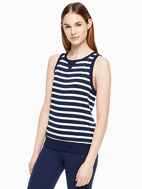 Kate Spade Modal Terry Bow Cut-out Sleeveless Sweatshirt, Sailing Stripe - Size L