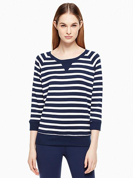 Kate Spade Modal Terry Bow Cut Out Sweatshirt, Sailing Stripe - Size L