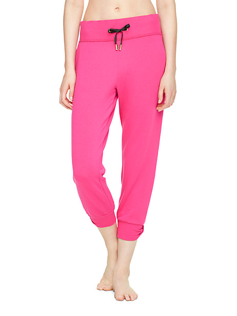 Kate Spade Relaxed Cropped Bow Sweatpants, Deep Carnation - Size XS