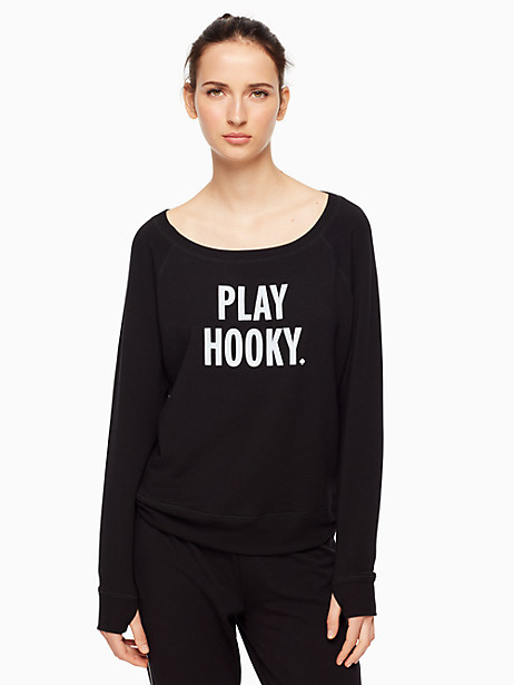Kate Spade Play Hooky Relaxed Long Sleeve Pullover, Black - Size L