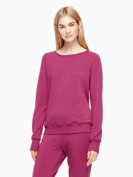 Kate Spade Cozy Fleece Bow Pullover, Zinfandel - Size L