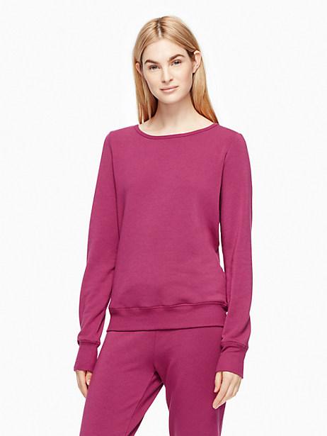 Kate Spade Cozy Fleece Bow Pullover, Zinfandel - Size L