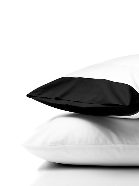 Kate Spade Grace Sheeting Standard Pillowcase Pair, Black - Size STANDARD