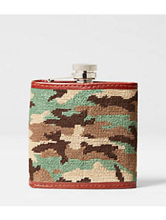 Needlepoint Camo Flask