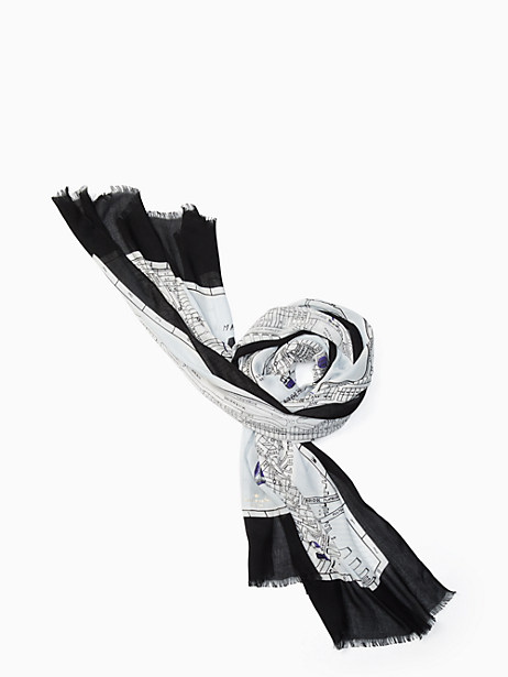 Kate Spade Map Oblong Scarf, Arabesque Blue