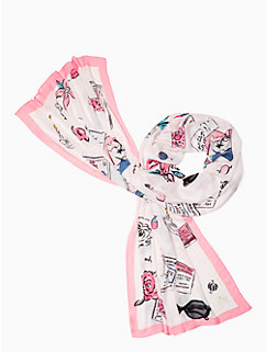 travel scrapbook oblong scarf by kate spade new york