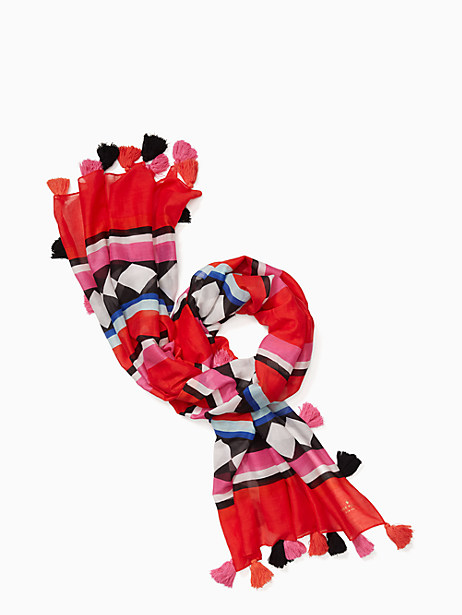 Kate Spade Geo Border Oblong Scarf, Cherry Pepper