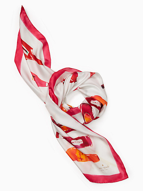 Kate Spade Hot Sauce Silk Square Scarf, Cream