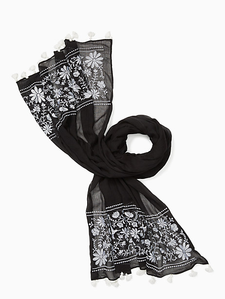 Kate Spade Otomi Embroidery Oblong Scarf, Black