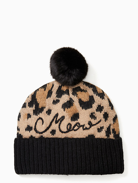 Kate Spade Brushed Leopard Pom Beanie, Natural Leopard Combo