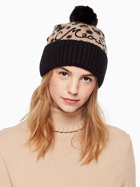 Kate Spade Brushed Leopard-print Pom Beanie, Natural Leopard Combo
