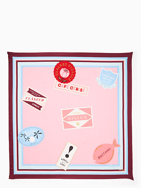Kate Spade Travel Stickers Square Scarf, Paris Pink